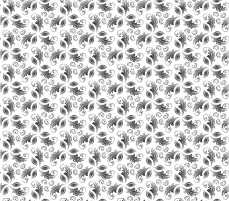 Floral vector ornament. Seamless abstract classic background with silver lives. Pattern with repeating floral elements. Ornament for fabric, wallpaper and packaging 向量圖像