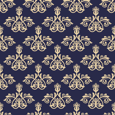 Classic seamless vector pattern. Dark blue and golden damask orient ornament. Classic vintage background. Orient ornament for fabric, wallpaper and packaging 일러스트