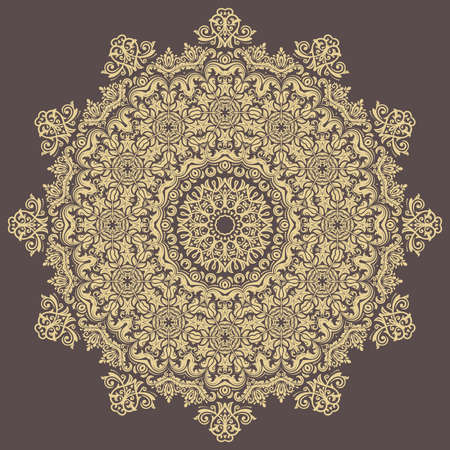 Elegant vintage vector ornament in classic style. Abstract traditional round golden pattern with oriental elements. Classic vintage pattern 일러스트