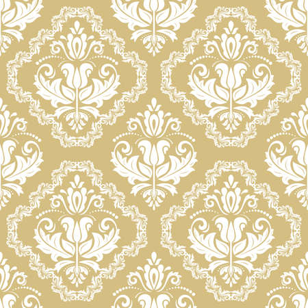 Classic seamless vector yellow and white pattern. Damask orient ornament. Classic vintage background. Orient ornament for fabric, wallpaper and packaging 일러스트