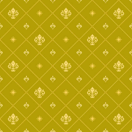 Seamless vector pattern. Modern geometric ornament with golden royal lilies. Classic vintage golden background