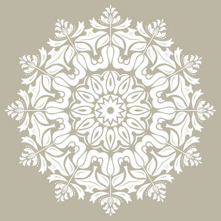 Elegant vintage vector ornament in classic style. Abstract traditional round white pattern with oriental elements. Classic vintage pattern