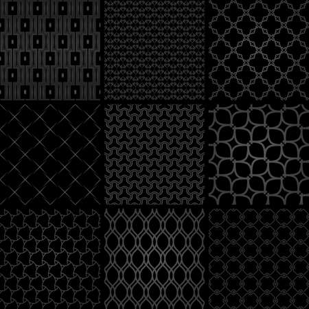 Set of vector seamless geometric dark patterns for your designs and backgrounds. Geometric abstract ornament. Modern black ornaments with repeating elements 向量圖像
