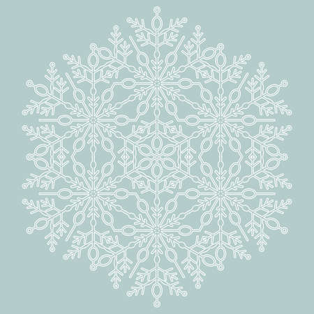 Round vector snowflake. Abstract winter ornament. Light blue and white snowflake