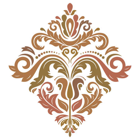 Elegant vintage vector ornament in classic style. Abstract traditional pattern with colored oriental elements. Classic vintage pattern with red and brown rhomus