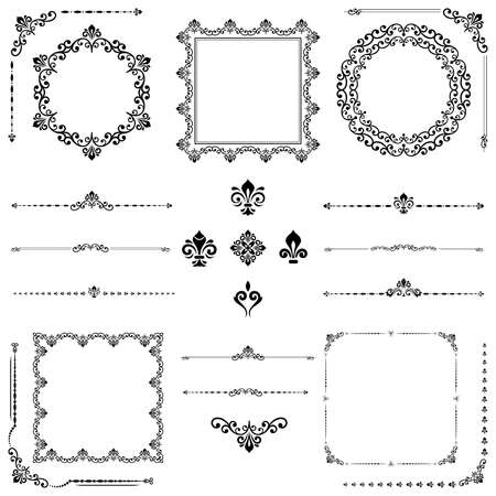 Vintage set of vector black horizontal, square and round elements. Different elements for backgrounds, frames and monograms. Classic patterns. Set of vintage patterns Vecteurs
