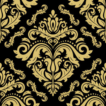 Classic seamless vector pattern. Damask orient ornament. Black and golden classic vintage background. Orient ornament for fabric, wallpaper and packaging Vektoros illusztráció