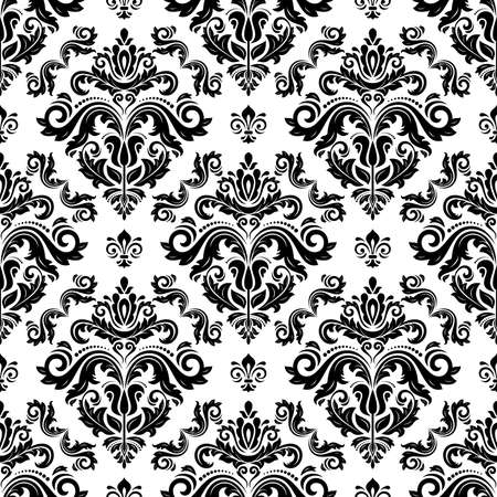 Classic seamless vector black and white pattern. Damask orient ornament. Classic vintage background. Orient ornament for wallpaper and packaging