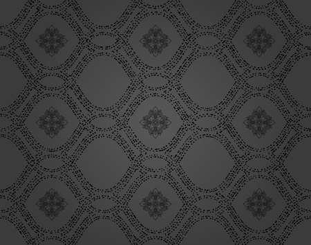 Seamless vector dark ornament with black elements. Modern background. Geometric modern pattern