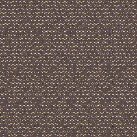 Seamless geometric vector pattern. Modern brown and golden ornament with dotted elements. Geometric abstract pattern Vektoros illusztráció
