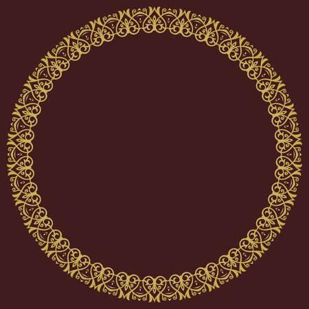 Oriental vector round frame with arabesques and floral elements. Floral border with vintage golden round pattern. Greeting card with place for text