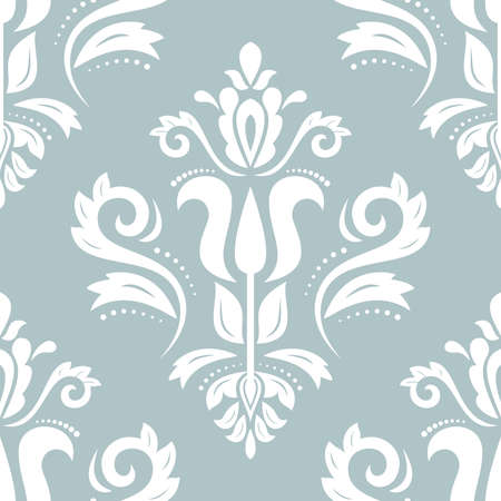Classic seamless vector pattern. Damask orient ornament. Classic blue and white vintage background. Orient ornament for fabric, wallpaper and packaging