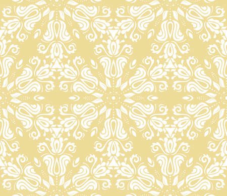 Orient vector classic pattern. Seamless abstract yellow and white background with vintage elements. Orient background. Ornament for wallpaper and packaging Vettoriali