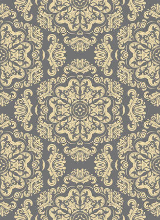 Classic seamless vector pattern. Damask orient ornament. Classic vintage gray and golden background. Orient ornament for fabric, wallpaper and packaging