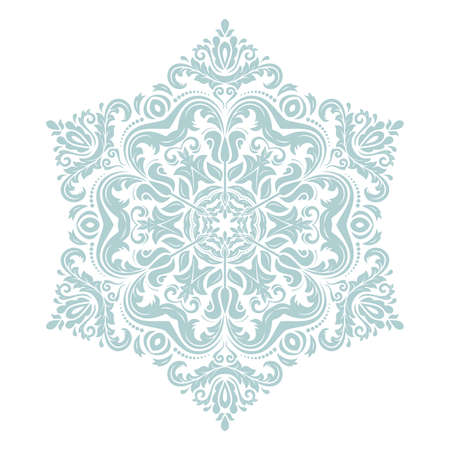 Oriental light blue pattern with arabesques and floral elements. Traditional classic ornament. Vintage pattern with arabesques