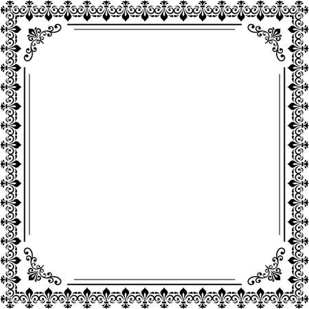 Classic black and white square frame with arabesques and orient elements. Abstract ornament with place for text. Vintage pattern