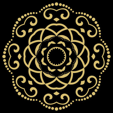 Oriental vector pattern with arabesques and floral elements. Traditional classic ornament. Vintage golden round pattern with arabesques