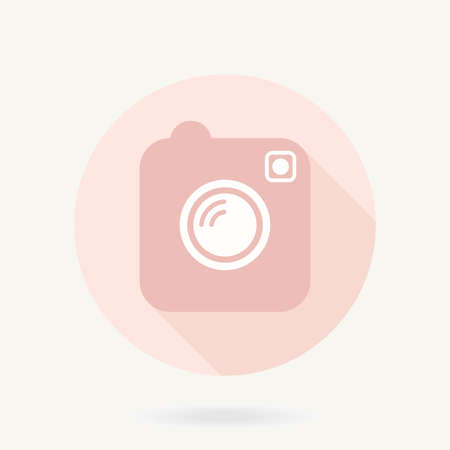 Camera pink vector flat icon in the circle with long shadow Ilustração
