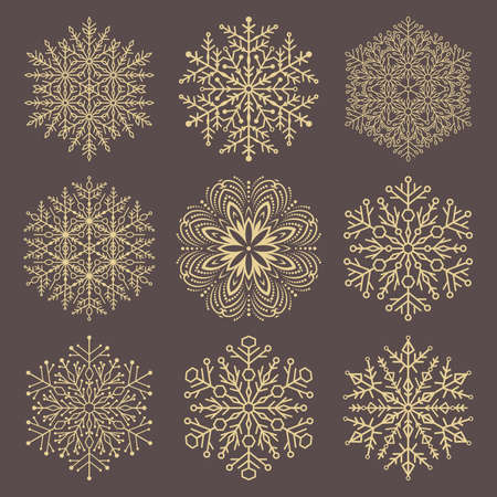Set of vector snowflakes. Fine winter ornaments. Snowflakes collection. Golden snowflakes for backgrounds and designs Illusztráció