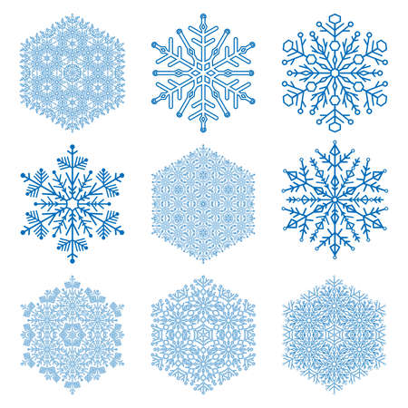 Set of vector blue snowflakes. Light blue winter ornaments. Snowflakes collection. Snowflakes for backgrounds and designs