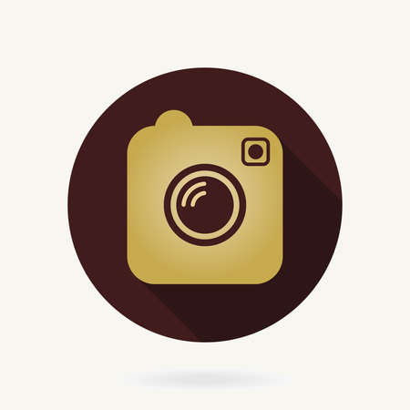 Camera Golden Flat Icon With Long Shadow Stockfoto