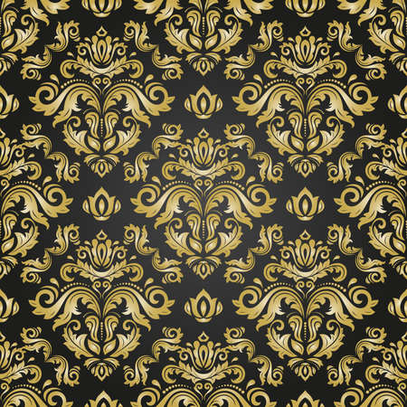 Classic Seamless Black and Golden Pattern Stockfoto