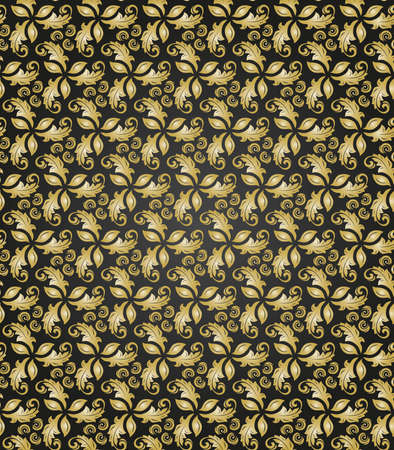 Seamless Black and Golden Pattern
