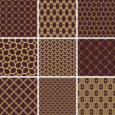 Set of Seamless Geometric Brown and Golden Backgrounds Stockfoto