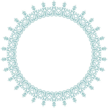 Oriental round frame with arabesques and floral elements. Floral border with blue vintage pattern. Greeting card with place for text