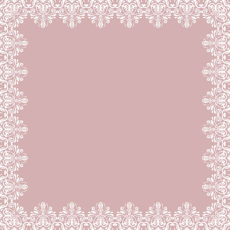 Classic square frame with arabesques and orient elements. Abstract ornament with place for text. Vintage pattern