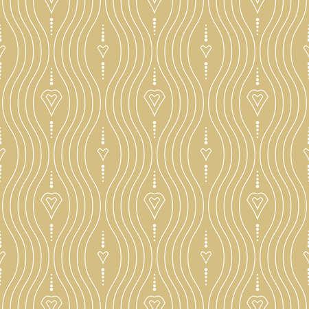 Seamless ornament. Modern background. Geometric modern golden and white wavy pattern