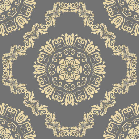 Orient classic pattern. Seamless abstract background with vintage elements. Orient gray and golden background. Ornament for wallpaper and packaging