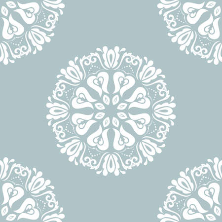 Orient classic pattern. Seamless abstract blue and white background with vintage elements. Orient background. Ornament for wallpaper and packaging Stockfoto