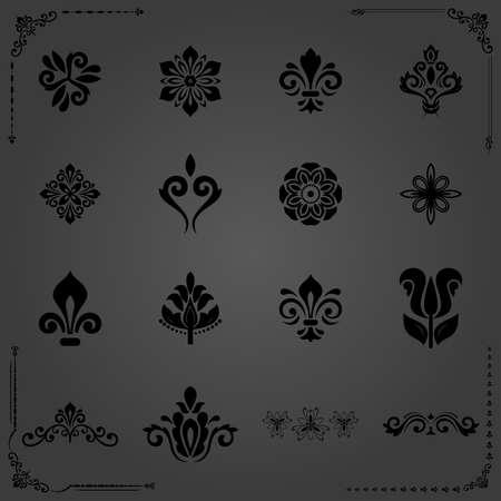 Vintage set of floral elements. Different black elements for backgrounds, frames and monograms. Classic patterns. Set of vintage patterns Stockfoto