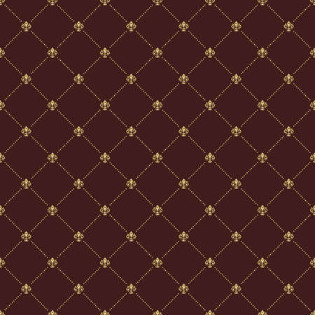 Seamless pattern. Modern geometric ornament with golden royal lilies. Classic vintage background