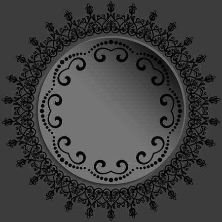 Round frame with floral elements and arabesques. Dark round pattern with arabesques. Fine greeting card