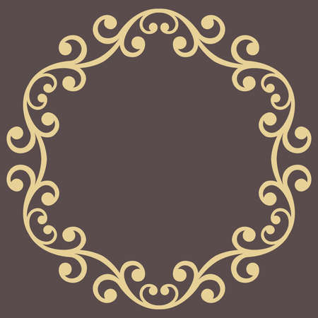 Oriental round frame with arabesques and floral elements. Floral golden border with vintage pattern. Greeting card with place for text