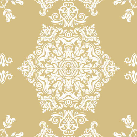 Orient classic pattern. Seamless abstract background with vintage elements. Orient golden and white background. Ornament for wallpaper and packaging