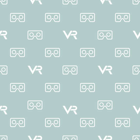 Seamless pattern with VR logos. Virtual reality white logos