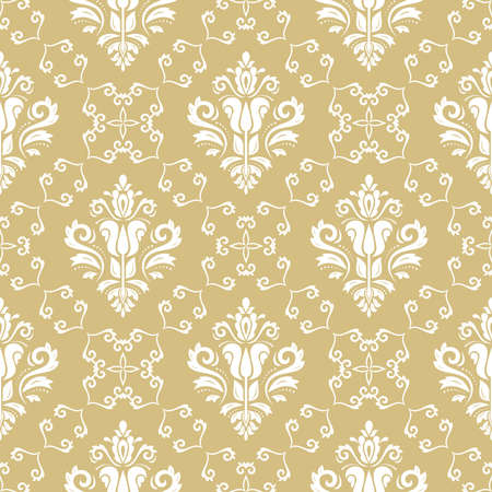 Classic seamless pattern. Damask orient ornament. Classic vintage yellow and white background. Orient ornament for fabric, wallpaper and packaging