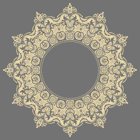 Elegant vintage ornament in classic style. Abstract traditional round golden pattern with oriental elements. Classic vintage pattern