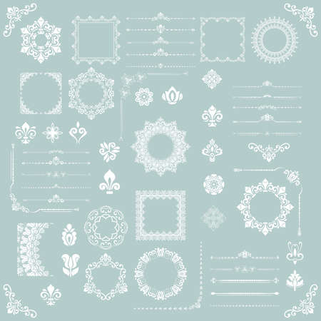 Vintage set of horizontal, square and round elements. Different elements for backgrounds, frames and monograms. Classic patterns. Set of vintage white patterns Stockfoto