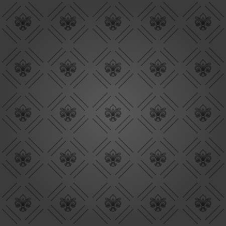 Seamless pattern. Modern geometric ornament with royal lilies. Classic vintage dark background Stockfoto