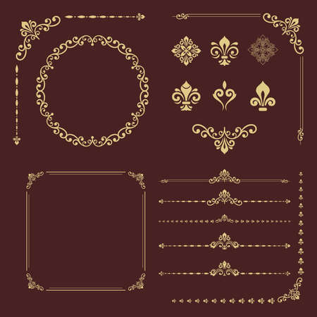 Vintage set of horizontal, square and round elements. Different elements for backgrounds, frames and monograms. Classic patterns. Set of vintage golden patterns