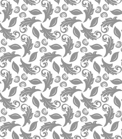 Floral ornament. Seamless abstract classic background with flowers. Pattern with silver repeating floral elements. Ornament for fabric, wallpaper and packaging