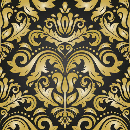 Classic seamless pattern. Damask orient ornament. Classic vintage black and golden background. Orient ornament for fabric, wallpaper and packaging