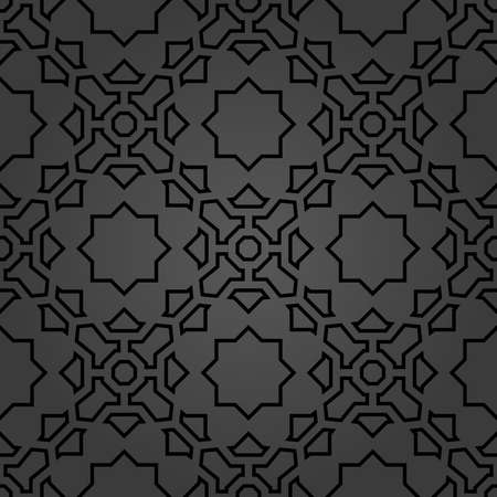 Seamless vector dark ornament in arabian style. Geometric abstract background. Pattern for wallpapers and backgrounds
