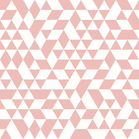 Geometric vector pattern with pink triangles. Geometric modern ornament. Seamless abstract background