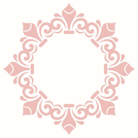Elegant vintage vector ornament in classic style. Abstract traditional pattern with pink oriental elements. Classic vintage round pattern