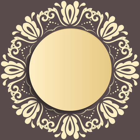 Round vector frame with floral elements and arabesques. Pattern with golden arabesques. Golden greeting card Stock Illustratie